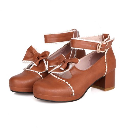 BalaMasa donna con fibbia basso tacchi solido pompe scarpe, Marrone (Brown), 38 EU