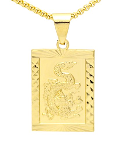 Charm Gold Square - Fusamk Fashion Alloy Dragon Totem Dog Tag Pendant Necklace,20