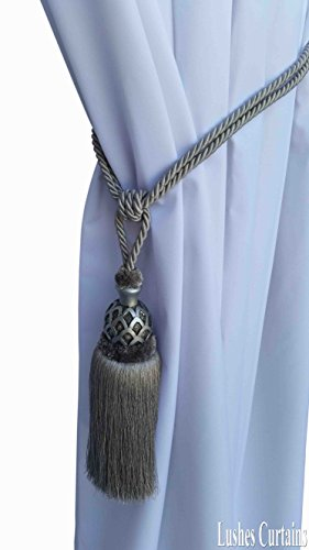 1 Luxury Handmade Silver Color w/Wood Single Tassel Rope Tie Back Window Treatment Curtain Drapery Vintage Look 2 Spread Cord Holdback Decor Tieback/Pull Back by Lushes Curtains (Image #1)