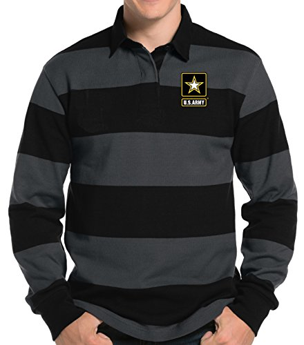 e470807e04df Mens US ARMY LOGO Long Sleeve Rugby Polo Shirt (Pocket Print)