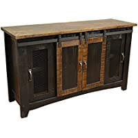 Crafters and Weavers Granville Black 60 TV Stand / Sideboard / Console Table with Sliding Doors