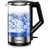 Homeleader Electric Kettle SpeedBoil BPA-Free Glass Tea Kettle, Fast Boiling Glass Tea Kettle (1.5L), Stainless Steel Finish Hot Water Kettle with Blue Led, Auto Shut-Off and Boil-Dry Protection, FDA