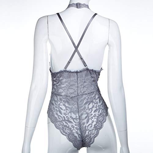 Senza Camicia Da Camicetta Body V Fenical In Notte Siamese Spalle Deep M Donna Sleepwear Neck Taglia Pizzo grigio PqAA57x