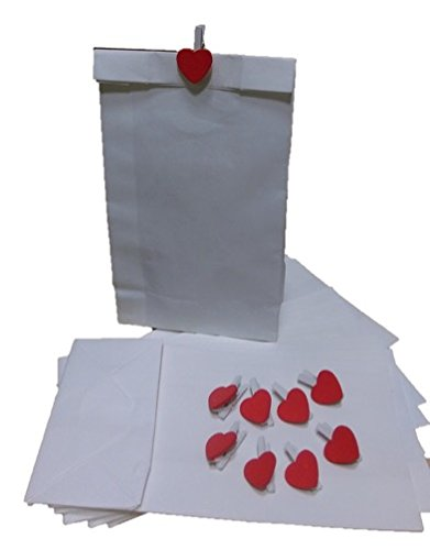 9 Bolsas blancas 18 x 8 cm con fuelle + 9 pinzas blancas ...