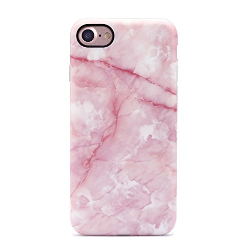 GOLINK iPhone 7 Case/iPhone 8 Case, Pink Marble Girls Slim-Fit Anti-Scratch Shock Proof Anti-Finger Print Flexible TPU Gel Case For iPhone 7/iPhone 8 - Pink (Pink Phone Case)