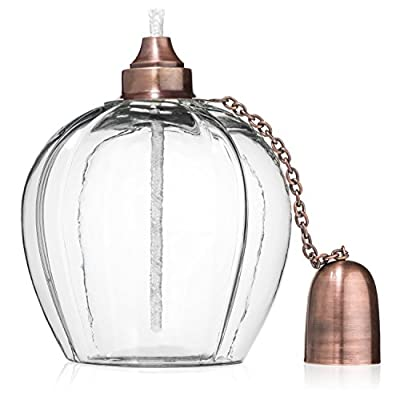 H Potter Outdoor Torch Tabletop Patio Garden Oil Lamp with Brass Top and Fiberglass Wick GAR547 - HAND-BLOWN GLASS TORCH – RUST RESISTANT BRASS ACCENTS – Heavy hand-blown, clear colored glass gives every piece its own unique antique effect, this outdoor torch creates a dazzling effect for any patio, deck or outdoor room. Designed to add character to your living space, all metal parts are brass with an antique finish, then sealed with a clear coat lacquer. To fill, unscrew the nozzle with the wick, slide to one side and fill (oil not included, we recommend a clear burning oil choice.) ELEGANT STYLE LANTERN FOR ALL SEASONS – At 6 inches tall by 6 inches wide, this outdoor tabletop lighting will make a great focal point and impressive statement wherever it's placed. Unique and sturdy, the heavy weight makes it perfect for an outdoor setting, without the worry of it toppling over on windy days. If you're looking for something different, this beautiful table lamp would make a perfect wedding decoration or birthday gift idea. HEAVY AND DURABLE IRON CONSTRUCTION – Built to last, this garden torch showcases a glass torch with brass top, brass snuffer cap attached with brass chain and long lasting nylon wick. Used night or day, sold as a single lantern, but beautiful displayed in multiples as a centerpiece or consider for your buffet or appetizer table at your next outdoor party. Simple enough to blend with any décor. - patio, outdoor-lights, outdoor-decor - 41SsWmx9prL. SS400  -