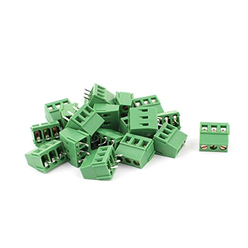 uxcell 20 Pcs 3 Terminals 5.0mm Pitch PCB Mount Screw Terminal Block AC 250V 8A