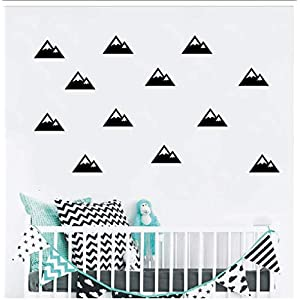 Buzdao Nordic Style Hills Wall Stickers Fun Bedroom Children's Room Decoration Wall Decals DIY Adhesive Nursery Wall Poster Murals 10X6Cm 18Pcs