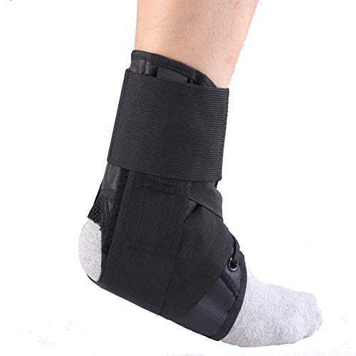 Ankle Brace with Strap, Ankle Stabilizer Support Lace Up Brace for Pain Relief, Injury Recovery, Strain or Sprain Size X-Large