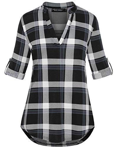 Checkered Shirts, Women V Neck 3/4 Sleeve Henley Casual Gingham Tunic Blouses with Drape Nicely Summer Fashion Clothes Black Plaid XXL