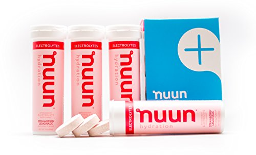 Nuun Hydration: Electrolyte Drink Tablets, Strawberry Lemonade, Box of 4 Tubes (40 servings), to Recover Essential Electrolytes Lost Through Sweat