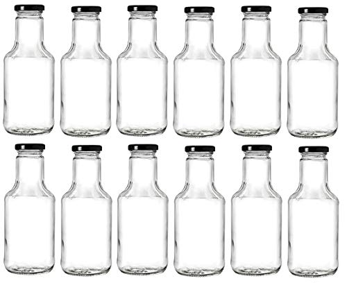 Sauce Bottles Barbeque - Nakpunar 14.5 oz Wide Mouth Empty Glass Bottles with Lids for Oil, BBQ Sauces, Milk, Water, Beverages (12, Black)