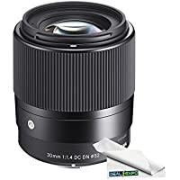 Sigma 30mm f/1.4 DC DN Contemporary Lens for Sony E-Mount Cameras + Expo-Fiber Microfiber Cleaning Cloth