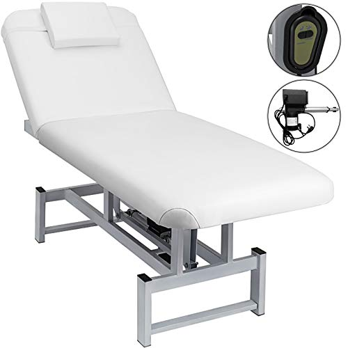 Happybuy 1-Motor Electric Facial Beauty Bed Electrical Salon Spa Massage Table All Purpose Doctor's Reclining Working Bed Electric Podiatry Tattoo Spa Treatment Table White (1-Motor, White)