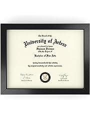 ARTEZA® Marco para Diplomas   21,6 x 27,9 cm   Portafotos con Acabado en Madera Maciza   Frontal de Cristal   Marcos de Foto Ideales para enmarcar Diplomas, certificados y Otros Documentos