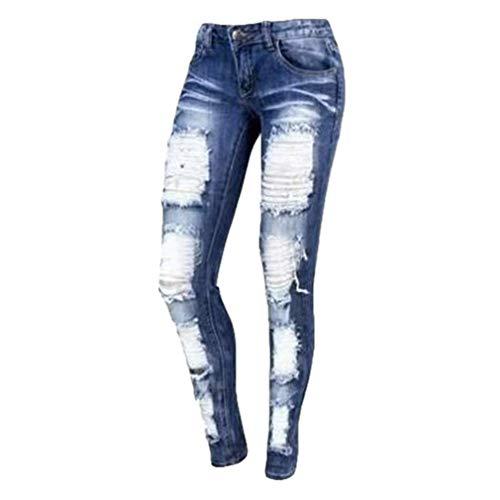 Ropa 1 Cómodo Rotos 2XL Up Mezclilla Jeans Cintura S Vaqueros Mujer Bolsillos Ocio Juqilu Casual Skinny con Pantalones Baja Estilo Push RpTWq