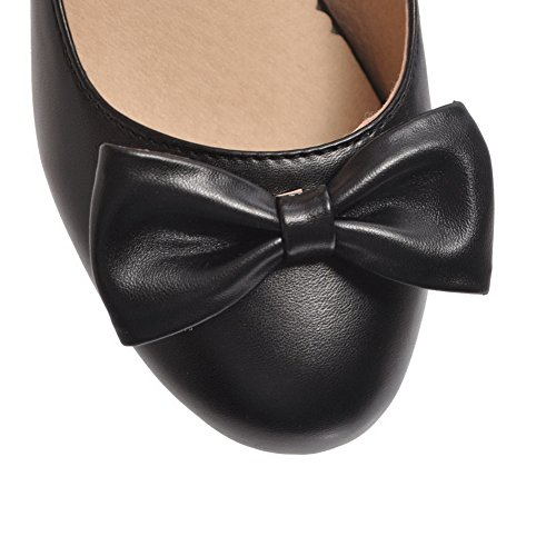 AllhqFashion Womens Solid PU Pull-On Low-Heels Round-Toe Pumps-Shoes Black oQAD7m