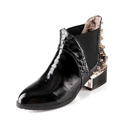 Ladola Girls Elastic Band Square Heels Rivet Winkle Pinker Black Patent Leather Boots - 4 B(M) - Vegas In Las Stores Mall Fashion