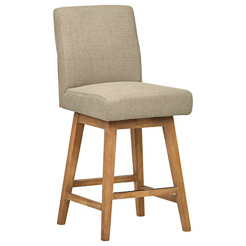 Stone Beam Sophia Modern Swivel Kitchen Counter Bar Stool, 39.4 Inch Height, Beige