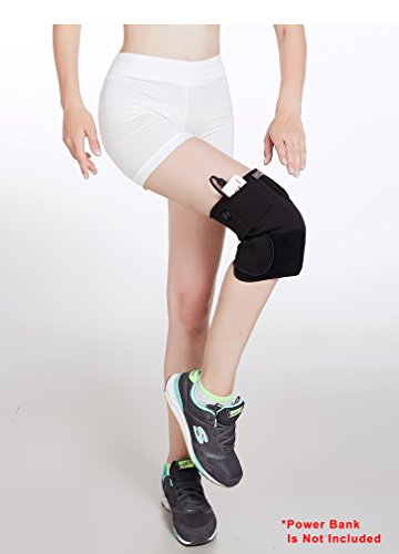 Newtton HealthMate Cordless USB Powered Knee Heating Wrap Support Brace Aid in Relieving Pain of Muscle, Injury, Arthritis, Joint, Soreness, 3 Heating Options, Auto-Shut Off (Power Bank not Included) ()