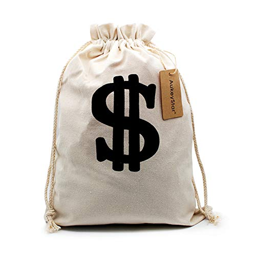 AukeyStar Large $ Canvas Natural Money Bag Pouch with Drawstring Closure and Dollar Sign Design for Toy Party Favors, Bank Robber Cowboy Pirate Theme, Money Sack Carrying Case(12x8 inches) -
