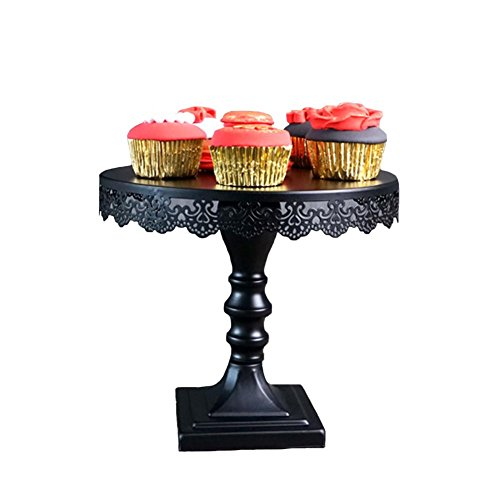 Cake Plate Stand, Botitu 10 inch Black Metal Decorative Dessert Stand with Pedestal for Birthday and Wedding Cupcake Stand, Suitable for Displaying Cheese, Macron, Brownies Serving Stand(9 inch tall) -