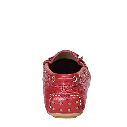 Rojo Para Piel De Conducción Mocasines En Roja Mujer Granulada vwq8En4