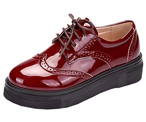(DADAWEN Women's Platform Lace-Up Comfort Wingtips Square Toe Oxford Shoes Brogues Red US Size 10)