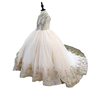 Gold Lace Flower Girls Pageant Dresses Long Puffy Prom Tulle Ball Gown