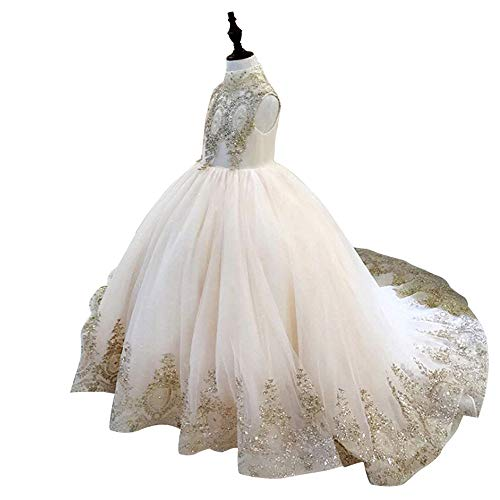 - Gold Lace Flower Girls Pageant Dresses Long Puffy Prom Tulle Ball Gown Size 4