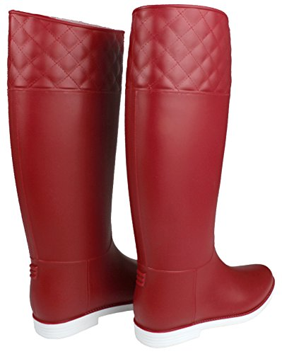 JJF Shoes Women Fashion Lace-Up Faux Fur-Lined Side Zip Buckle Winter Rain Ankle Boots Redjly gijas