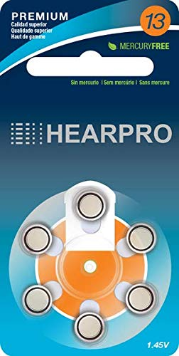 HEARPRO Size 13 Long-Lasting Hearing Aid Batteries 60 Pack - Mercury-Free - Zinc Air Technology - Made in USA - Plus Keychain Battery Case
