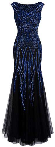 Angel-fashions Women's Pattern Sequin Bateau Cap Sleeve Flapper Mermaid Evening Dress (L, Blue Black)