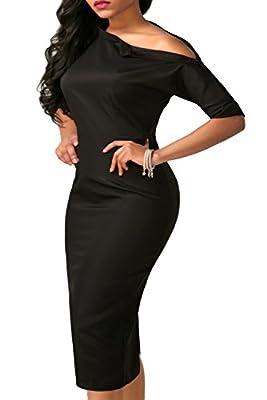 Mystry Zone Womens Sexy Half Sleeve One Shoulder Bodycon Evening Party Midi Pencil Dress