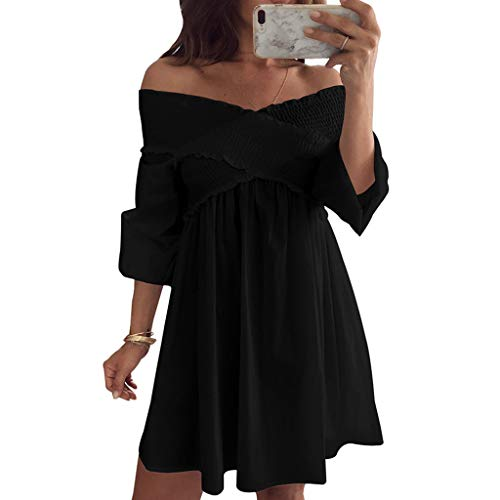 Sunshinehomely Women Dress, Womens Holiday Off Shoulder Ruffles Party Ladies Casual Dress Half Sleeve Mini Dress (M, Black)