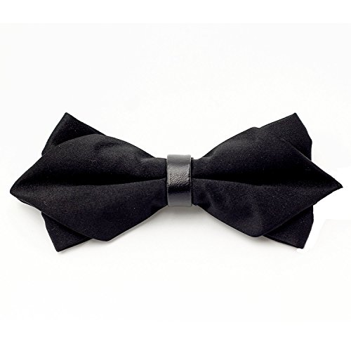 LOVTIE Gift Boxed Tuxedo Formal Pre-Tied Satin Bow Tie,Sharp Double Layers Men's Necktie,Adjustable Length