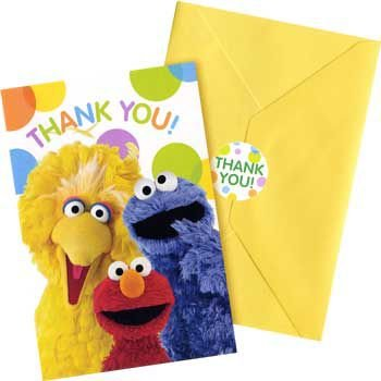 Sesame Street Party Thank You Notes (8 per (Pack Of Cards Costume)