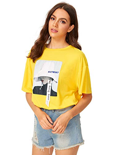 Romwe Women's Oversized Loose Short Sleeve Round Neck Graphic Print Applique Tee Shirt Tops Yellow ()