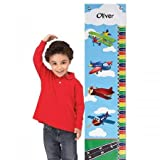 Lillian Vernon Personalized Airplane Canvas Growth Chart - 10'' x 40''L, up to 58'' H Boys Hanging Height Ruler, Room D?cor