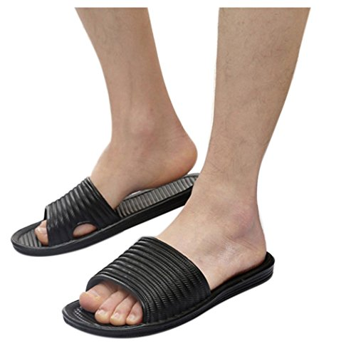 Inkach Mens Summer Sandals - Fashion Bath Slippers House Sandals Casual Flat Beach Shoes Black 92p34qpB