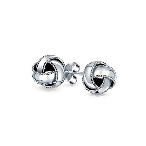 Edge Woven Mm 10 - Simple Woven Braided Edge Love Knot Ball Stud Earrings For Women For Mother 925 Sterling Silver