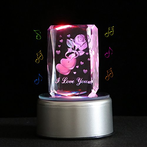 Qianruna Rotating Laser Crystal Engraving 3D Crystal Rose Flower With Ring Music Box,Birthday Gifts for Wife and Mother's Day Gift,Wedding Anniversary Gifts,Music Base