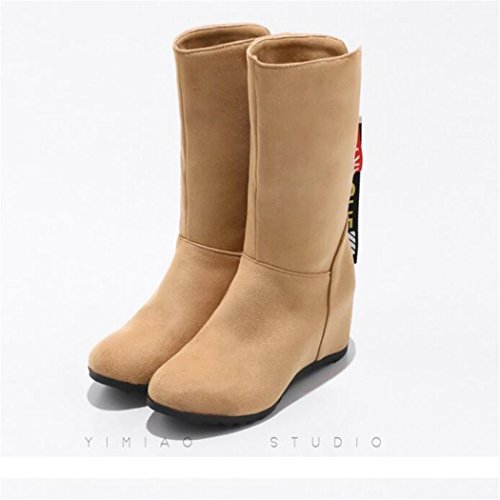 Winter round wild students foot Apricot flat a set color QX and the boots head with base increase ZQ short boots Autumn female B6nS7tqZnI