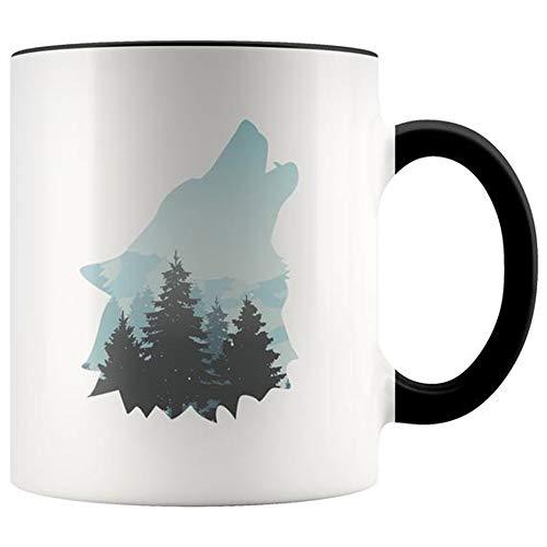 (SkyLine902 - Howl Moon Wolf Coffee Mug - Forest Camping Adventure Mug, Camping Mug, Gift For Camper, Gift For Hiker, Gift For Backpacker, 11oz Ceramic Coffee Novelty Mug/Cup)