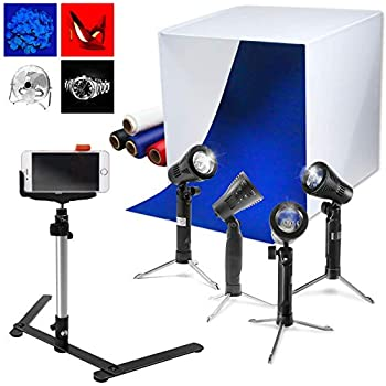 LED Light Stands 600 Lumen,Color Gel Filters,Product Advertising,JSAG497 Julius Studio,16 x 16 Inch Lighting Photography Studio Box Kit Tabletop Photo Light Shooting Tent
