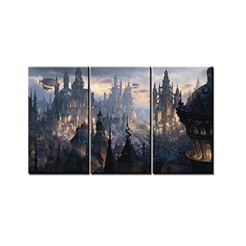 ZDtgcf 3 Piece Canvas Painting Wall Art Print Painting Home Decor Steampunk Fantasy City Pictures Modular Magical Swamp Creatures Castle Poster-B]()