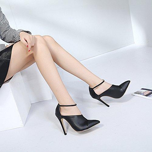 mujer punta tacón alto solo resorte nuevo ZHZNVX zapatos de zapatos con los de fina El zapatos moda YxZxqPCHw