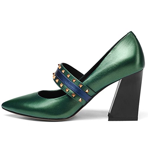 Mary Style Block Toe Pumps Women's Jane Cow Nine Handmade Seven Leather Heel Green Pointed wFUzqqZT
