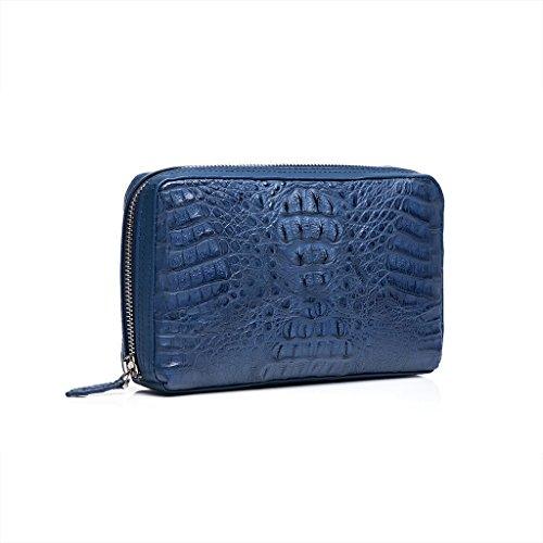 ZRO Men's Designer Portable Crocodile Leather Business Clutch Handbag BLUE by ZRO