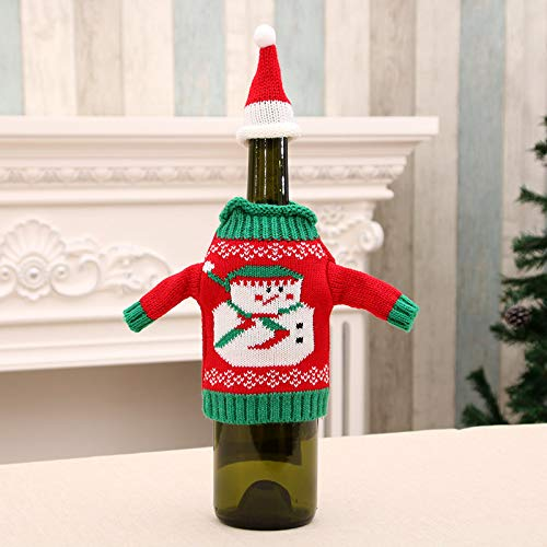 YJ-Bear 1pcs Knitted Christmas Sweater Cover Christmas Wine Bottle Cover Bag Wine Gift Wraping for Gift Christmas Home Party Table Dinner Table Decorations(Snowman Style